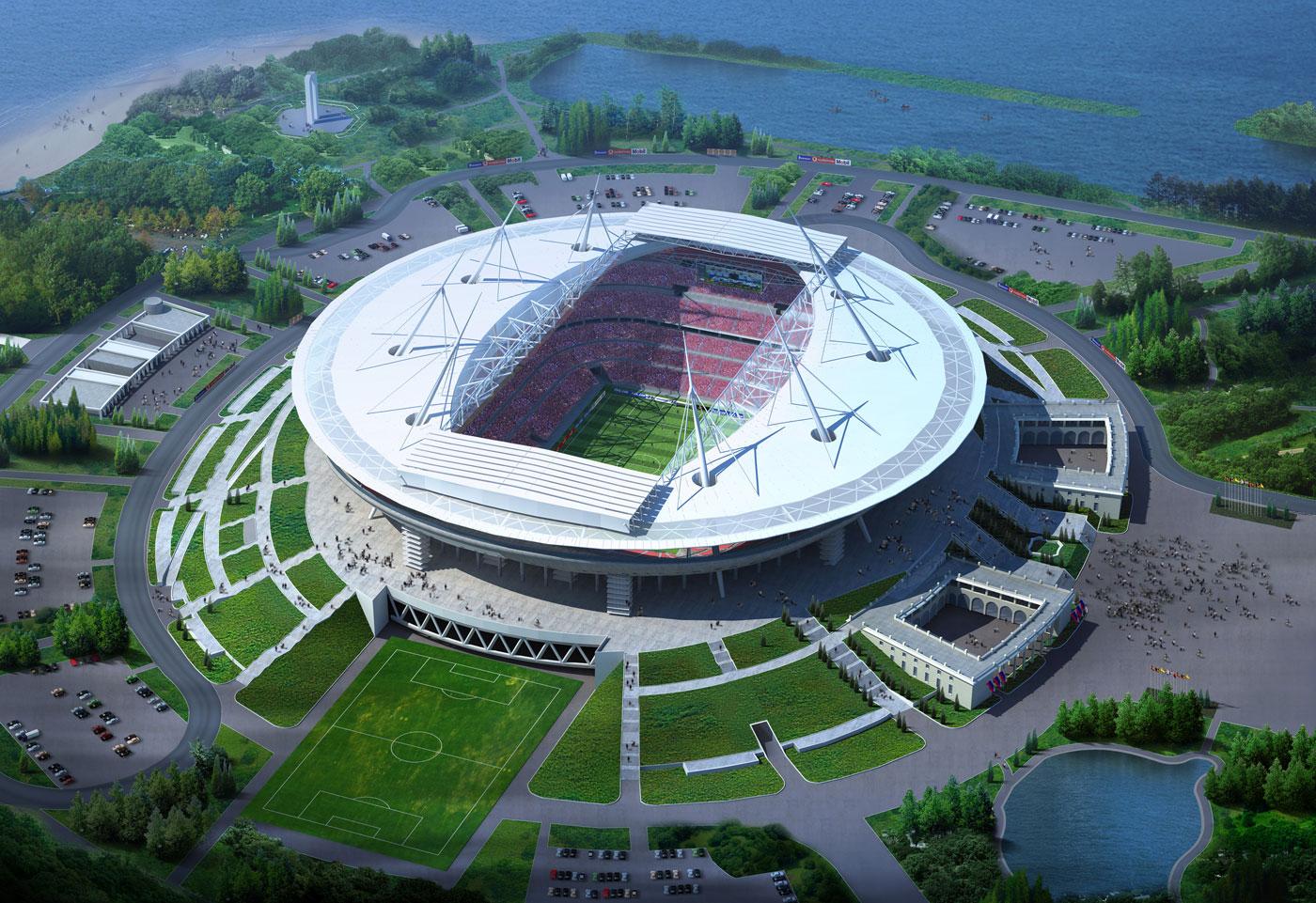 Футбольный стадион в западной части Крестовского острова г...